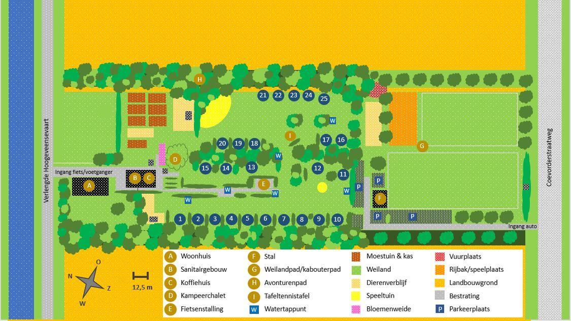 Plattegrond van kleine camping Drenthe - ruime plaatsen en rust